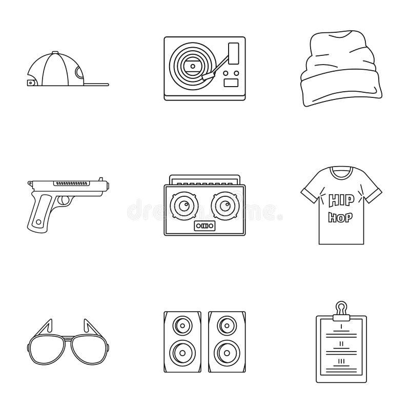 Ensemble d'icône de coup sec et dur, style d'ensemble illustration de vecteur