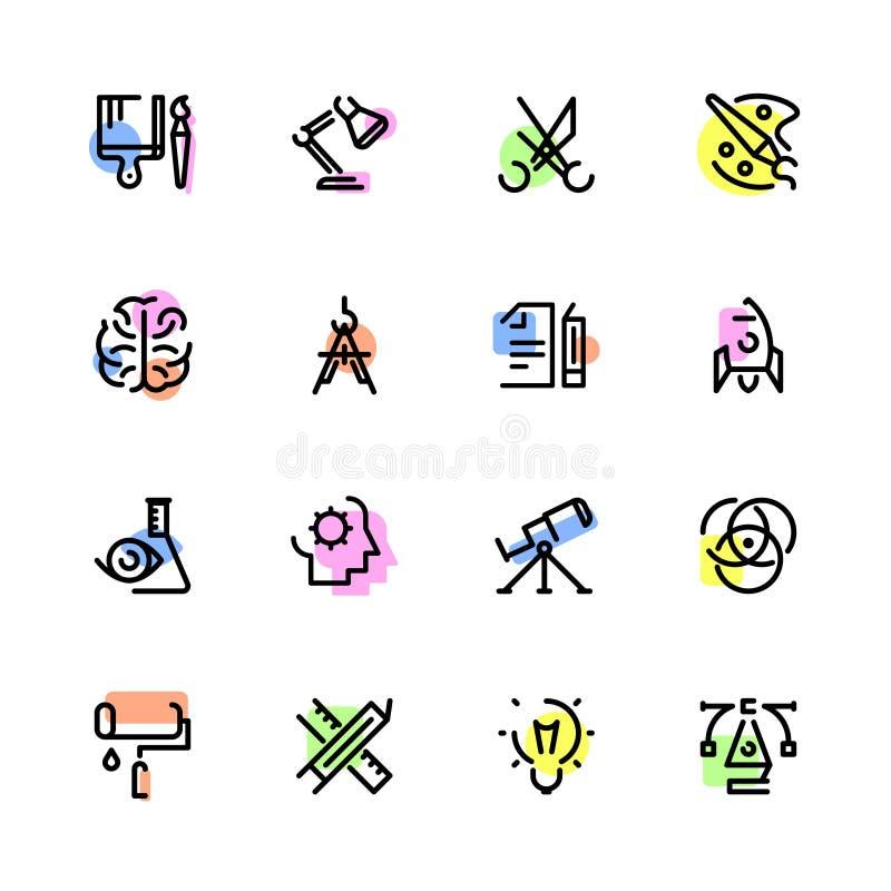 Ensemble d'icône de créativité illustration stock