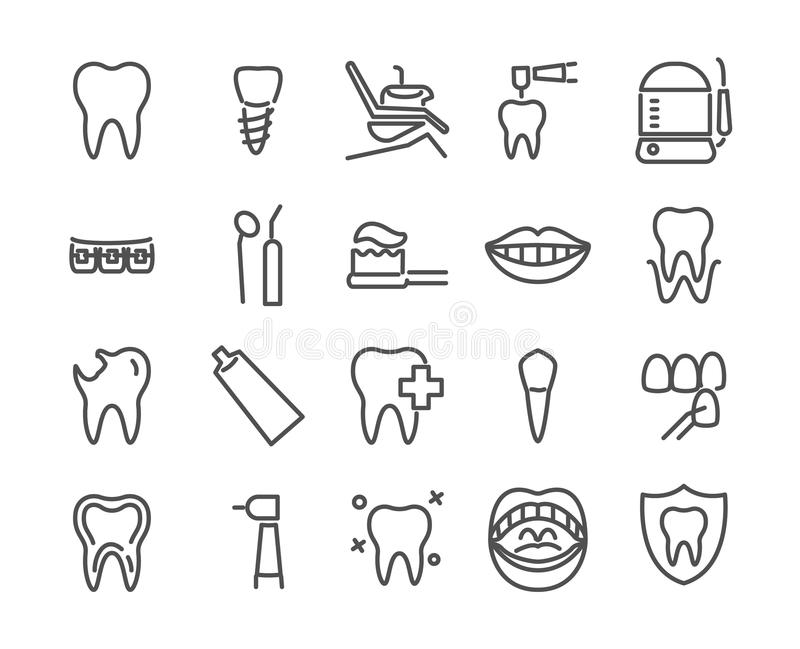 Ensemble d'icône de dentiste fait dans la ligne style illustration courante editable parfaite de vecteur du pixel 48X48 photo libre de droits