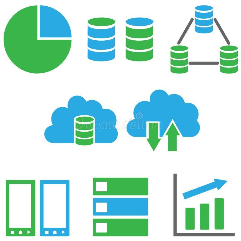 Ensemble d'icône de données de vecteur illustration stock