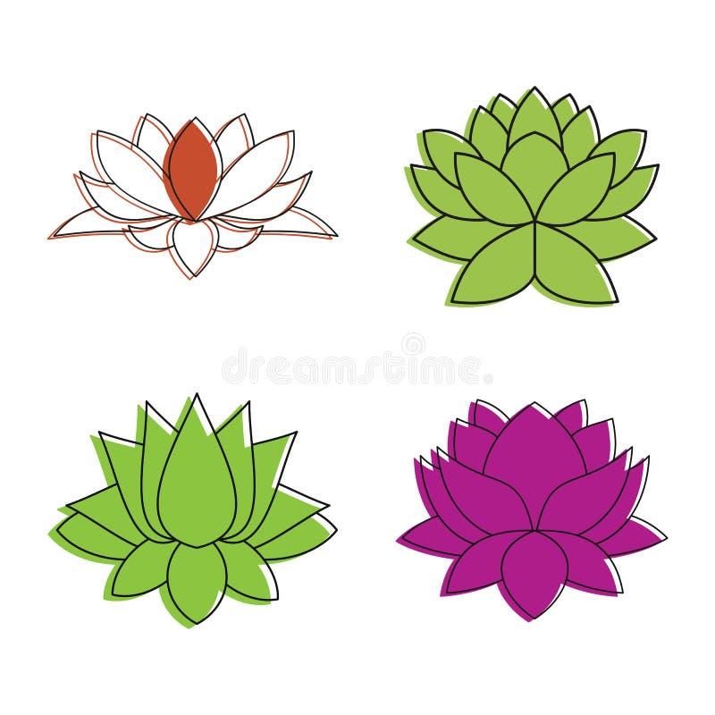 Ensemble d'icône de fleur de Lotus, style d'ensemble de couleur illustration de vecteur