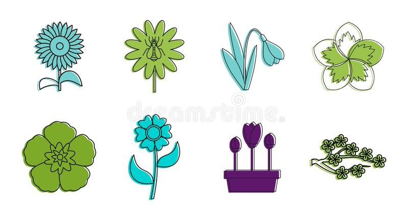 Ensemble d'icône de fleur, style d'ensemble de couleur illustration stock