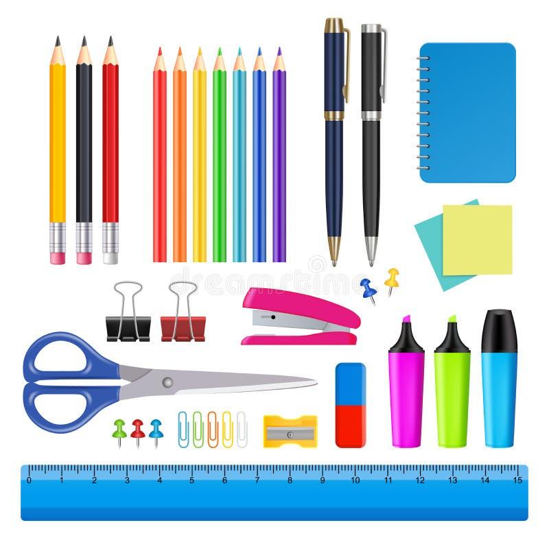 Ensemble d'icône de fournitures de bureau d'école et de vecteur illustration libre de droits