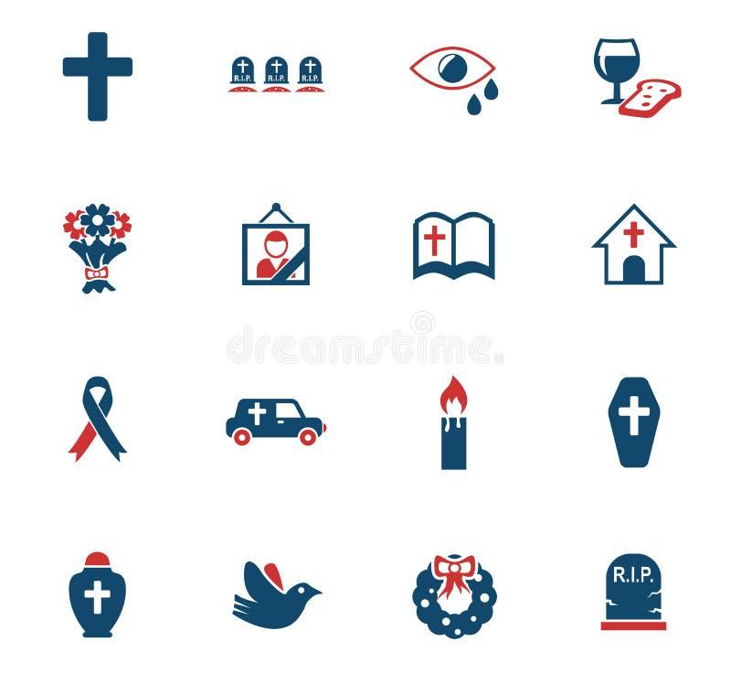 Ensemble d'icône de funérailles illustration stock