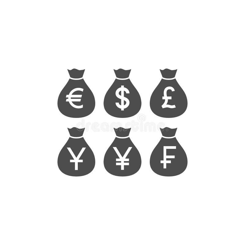 Ensemble d'icône de glyph de devise du monde de sac d'argent illustration stock