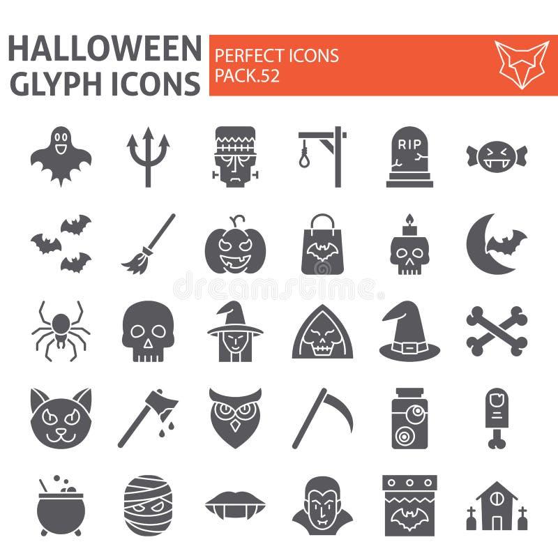 Ensemble d'icône de glyph de Halloween, symboles collection, croquis de vecteur, illustrations de logo, signes rampants d'horreur illustration libre de droits