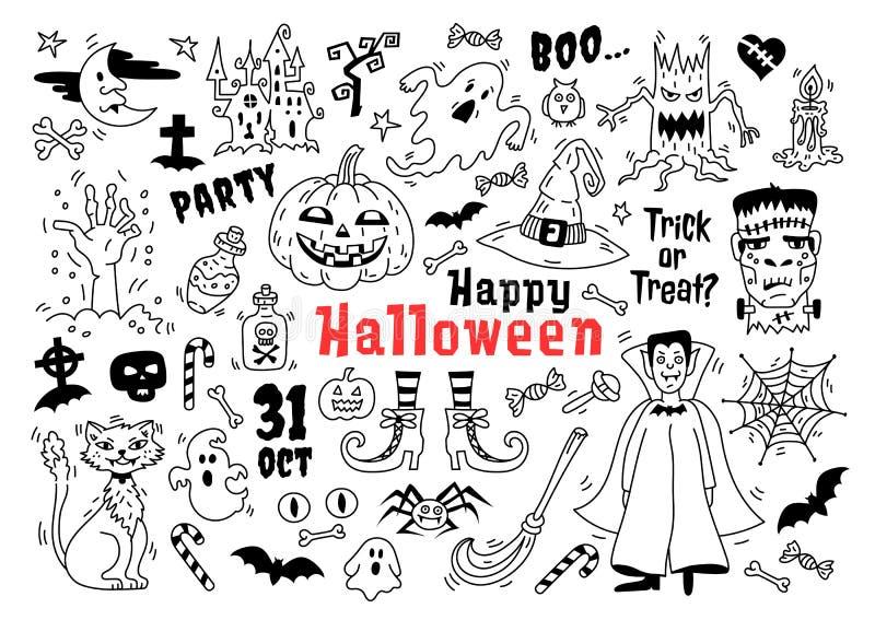 Ensemble d'icône de griffonnage de Halloween Croquis des icônes pour Halloween de décoration, symboles de Halloween de dessins, i illustration de vecteur