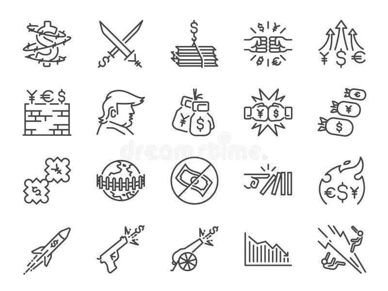 Ensemble d'icône de guerres commerciales Icônes incluses comme guerre, sanction économique, impôt, tarifs, mur, crise et plus de  illustration libre de droits