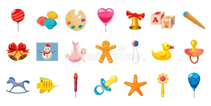 Ensemble d'icône de jouets d'enfant, style de bande dessinée illustration stock