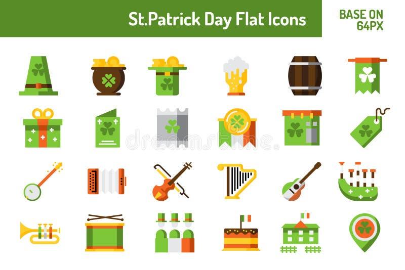 Ensemble d'icône de jour de StPatricks Base plate d'icône sur le pixel 64 avec la conception parfaite de pixel illustration stock