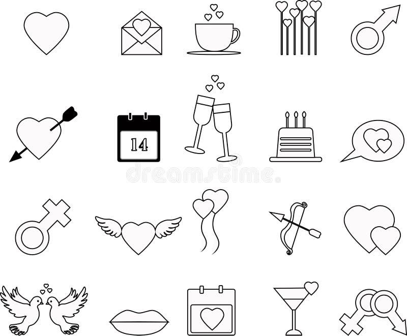Ensemble d'icône de jour de valentines photographie stock libre de droits