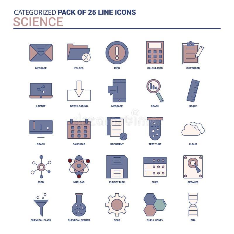Ensemble d'icône de la Science de cru - 25 ligne plate ensemble d'icône illustration stock