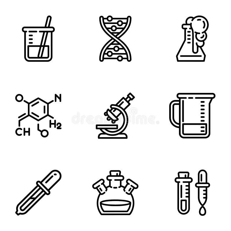 Ensemble d'icône de laboratoire de chimie, style d'ensemble illustration stock