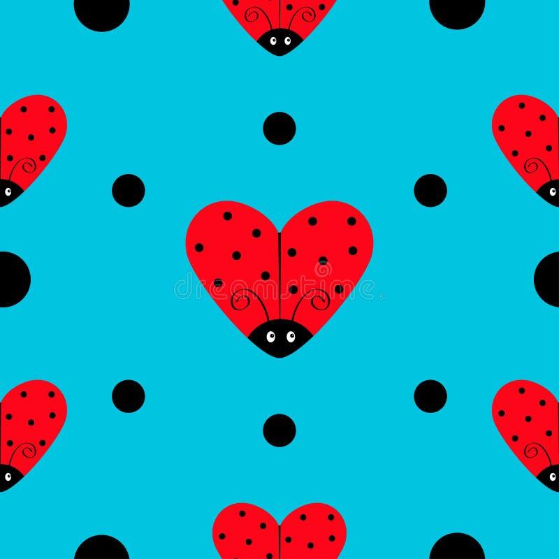 Ensemble d'icône de Ladybird de coccinelle Forme de coeur Collection de bébé Insecte drôle de bébé de kawaii Points noirs Papier  illustration libre de droits