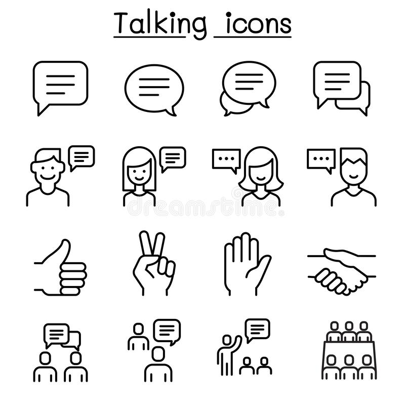 Ensemble d'icône de langue de la parole, de discussion, de parler, de réunion et de main illustration stock