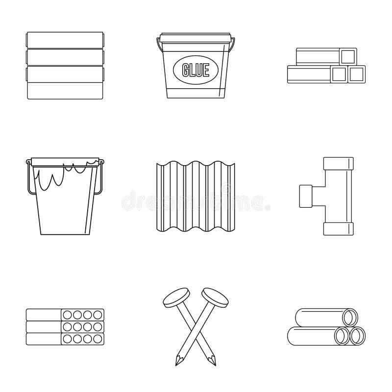 Ensemble d'icône de matériau de construction de Chambre, style d'ensemble illustration stock