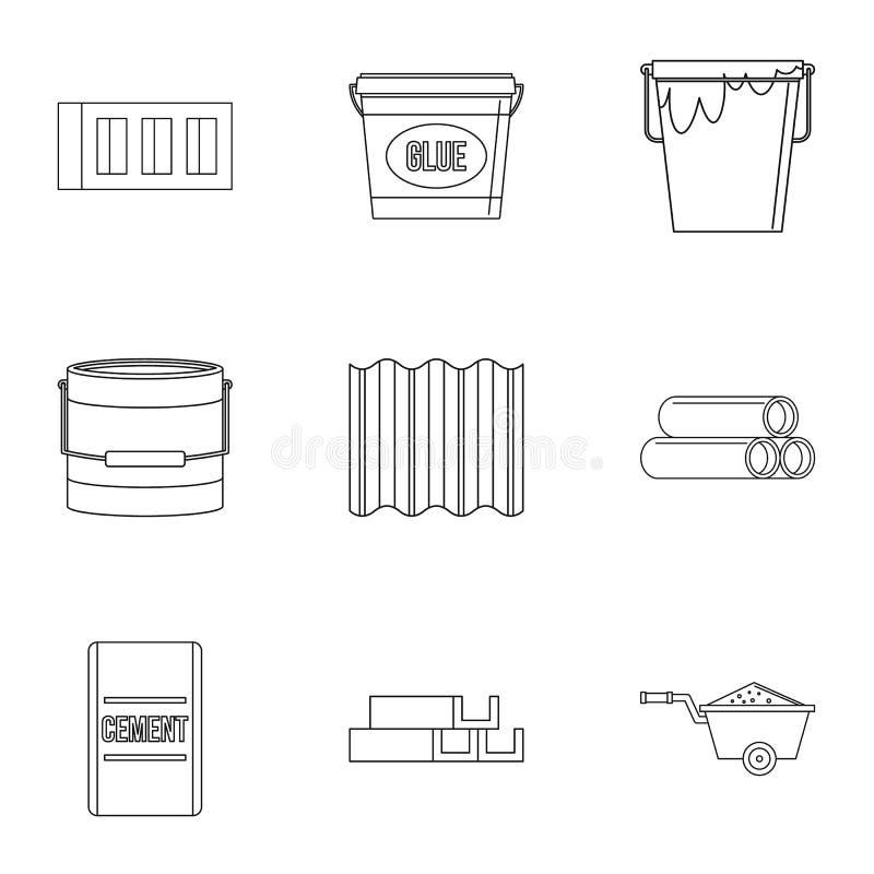 Ensemble d'icône de matériau de construction, style d'ensemble illustration libre de droits