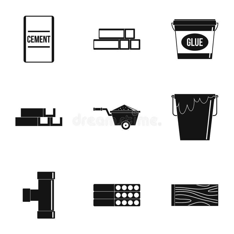 Ensemble d'icône de matériau de construction, style simple illustration libre de droits
