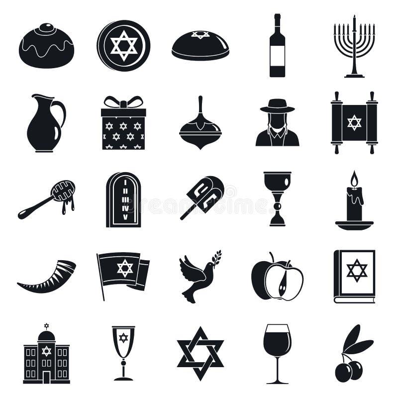 Ensemble d'icône de menorah de Hanoucca, style simple illustration stock