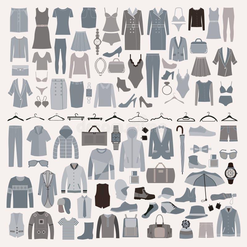 Ensemble d'icône de mode de vêtements et d'accessoires Hommes et vêtements de femmes illustration de vecteur