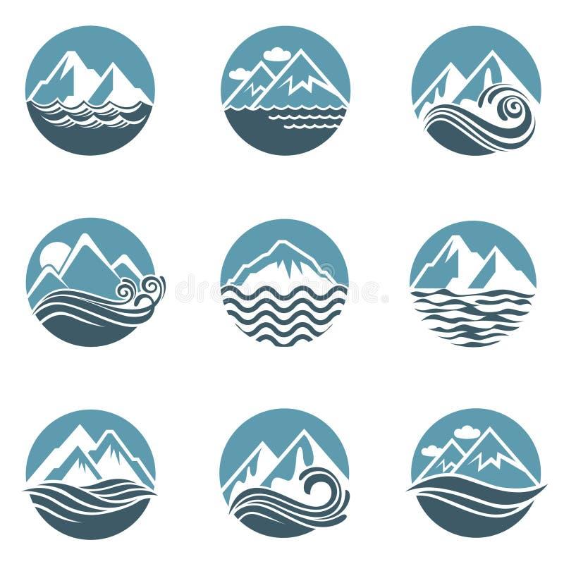 Ensemble d'icône de montagne et de mer illustration libre de droits