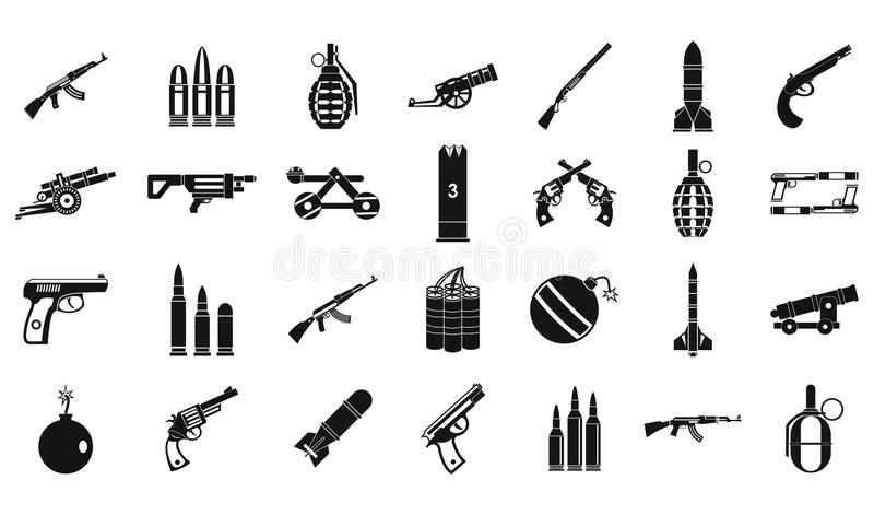Ensemble d'icône de munitions d'armes, style simple illustration de vecteur