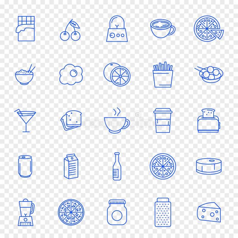 Ensemble d'icône de nourriture et de cuisine 25 icônes illustration libre de droits