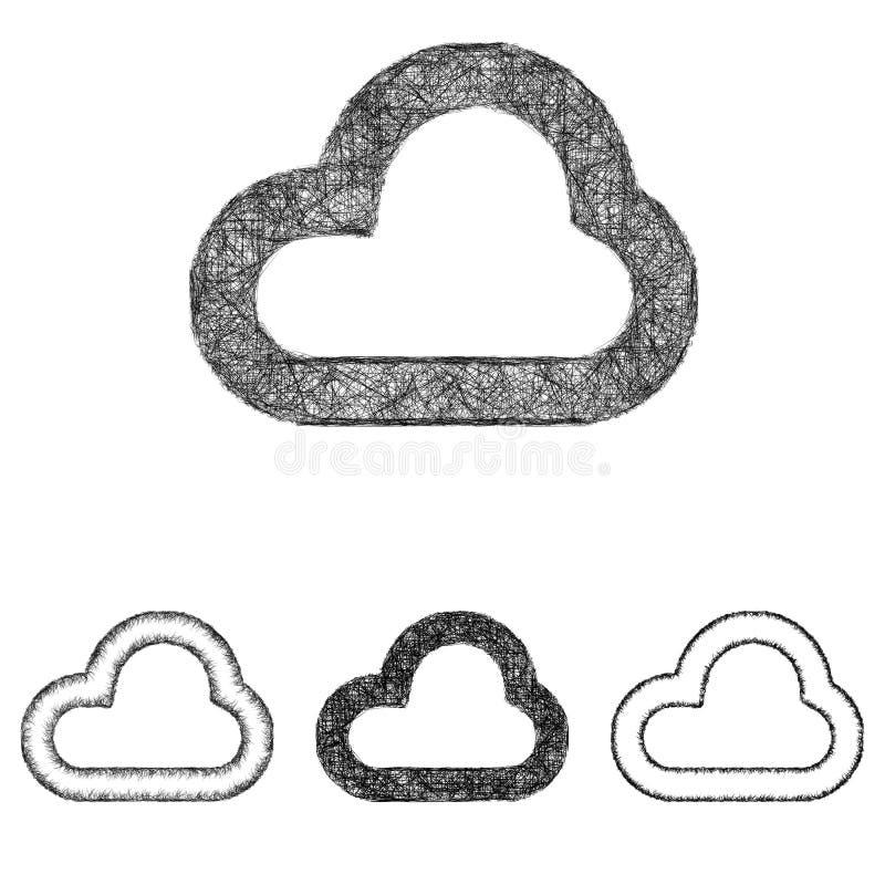 Ensemble d'icône de nuage - schéma croquis illustration libre de droits