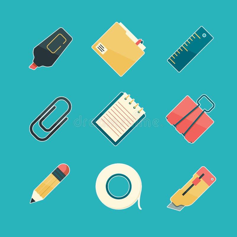 Ensemble d'icône de papeterie E illustration de vecteur