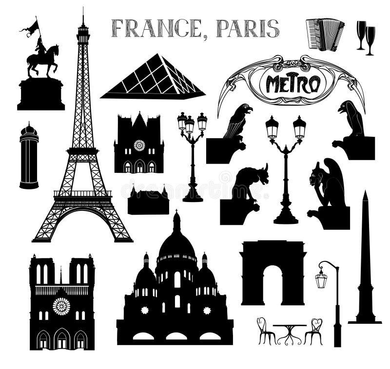 Ensemble d'icône de Paris de voyage Endroits célèbres des silhouettes de Frances illustration stock