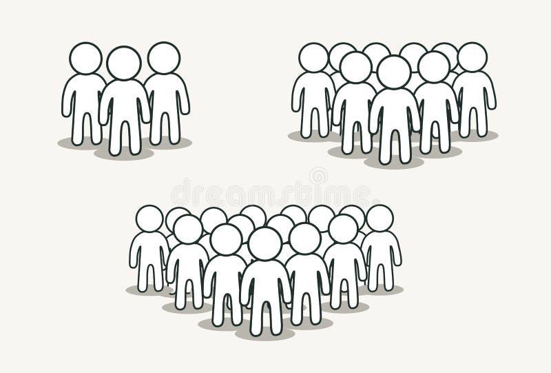 Ensemble d'icône de personnes dans le style plat à la mode d'isolement sur le fond Foules ou signes d'équipe illustration stock
