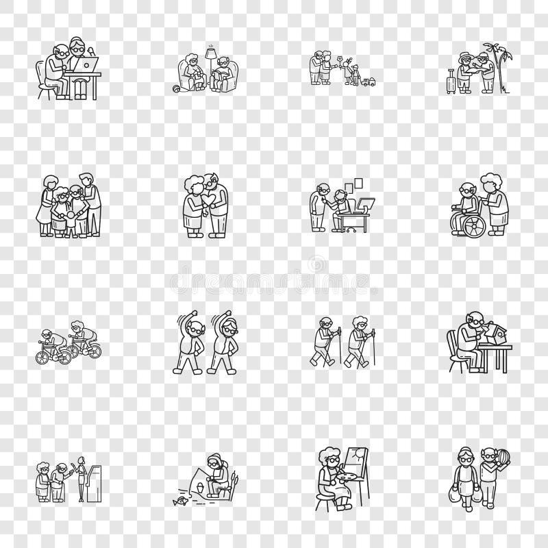 Ensemble d'icône de personnes plus âgées, style simple illustration de vecteur