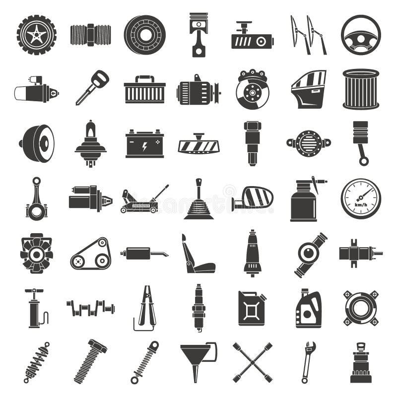 Ensemble d'icône de pièce d'automobile, style simple illustration stock