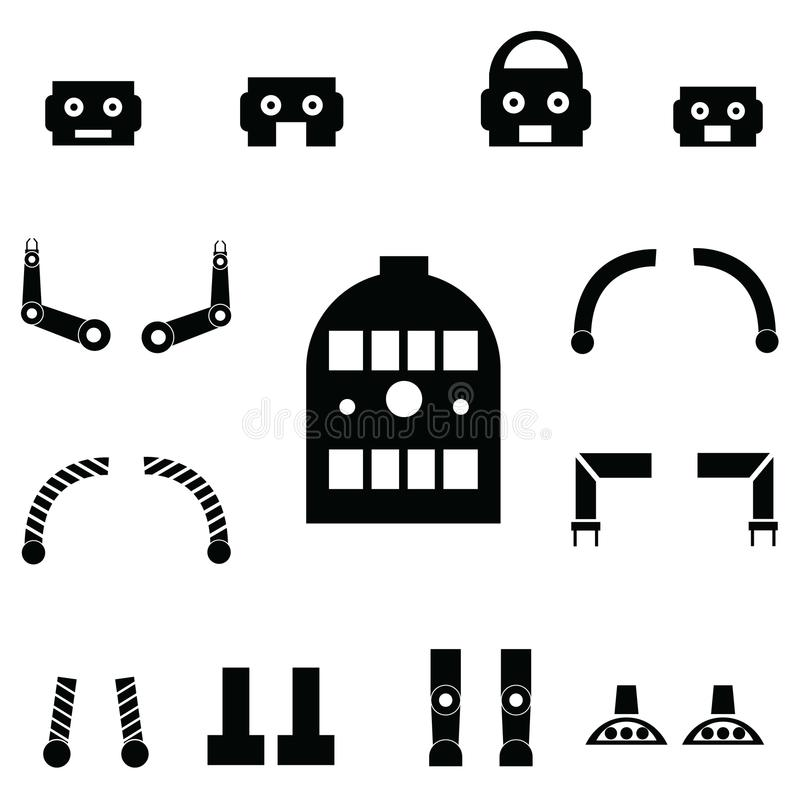 Ensemble d'icône de pièces de robot illustration de vecteur