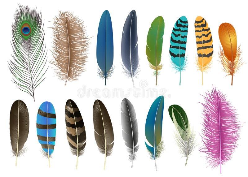 Ensemble d'icône de plume, style réaliste illustration de vecteur