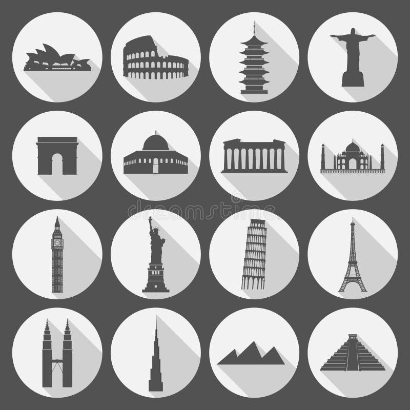 Ensemble d'icône de points de repère de voyage illustration de vecteur
