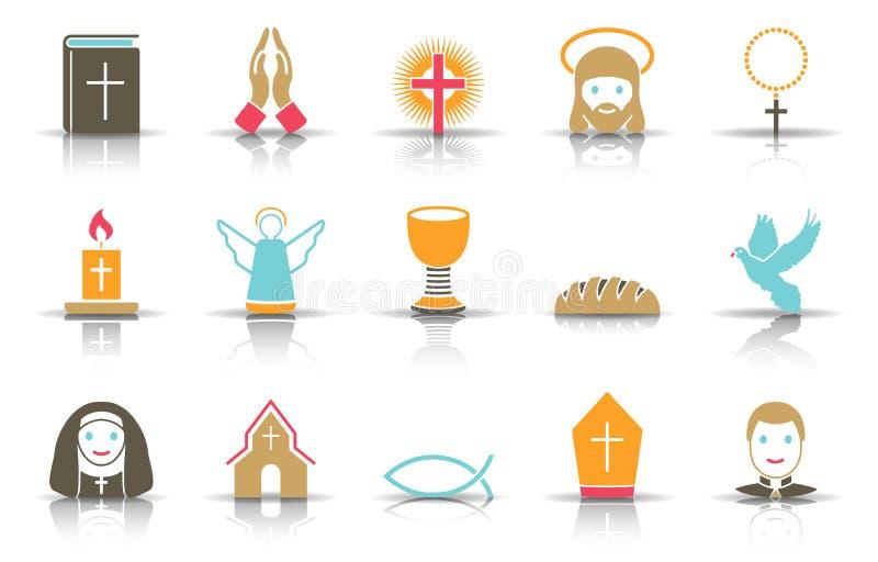 Ensemble d'icône de religion illustration de vecteur