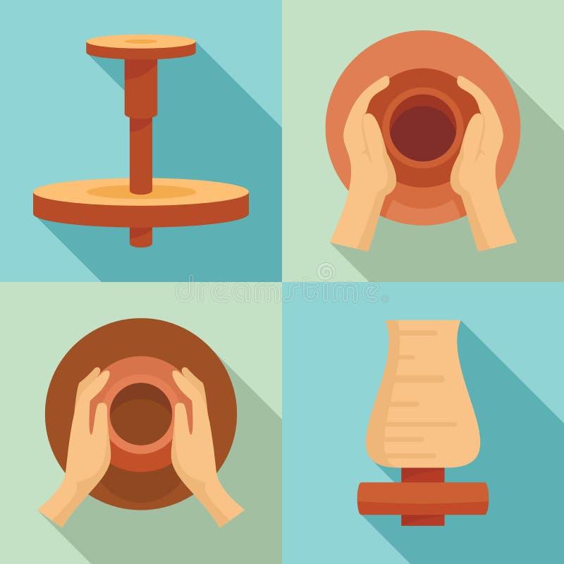 Ensemble d'icône de roue de potiers, style plat illustration libre de droits