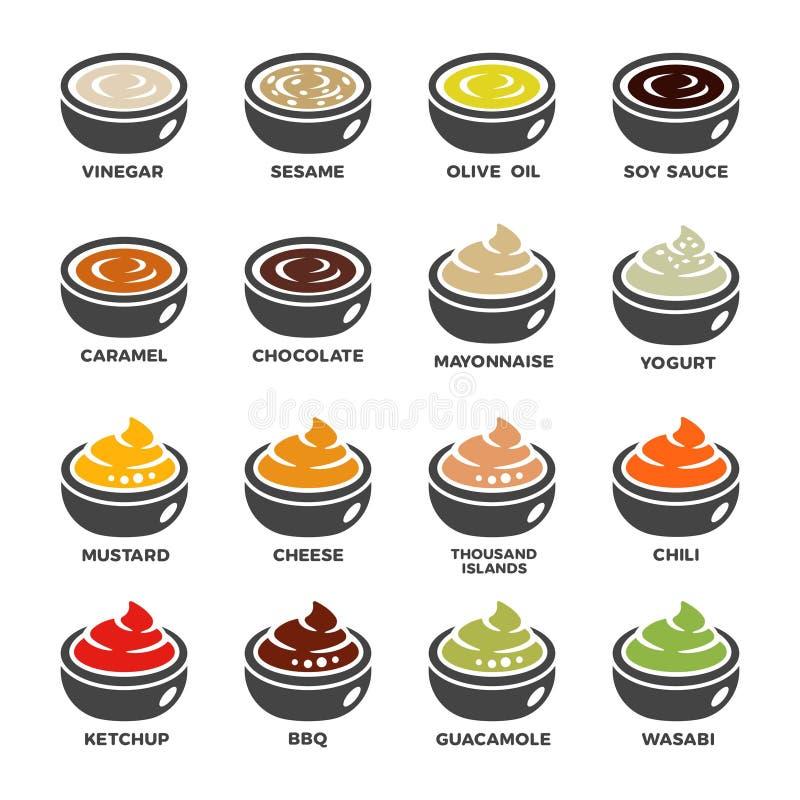 Ensemble d'icône de sauce illustration de vecteur