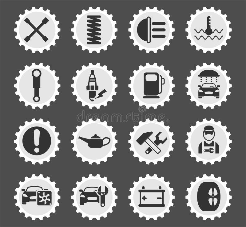 Ensemble d'icône de service de voiture illustration de vecteur