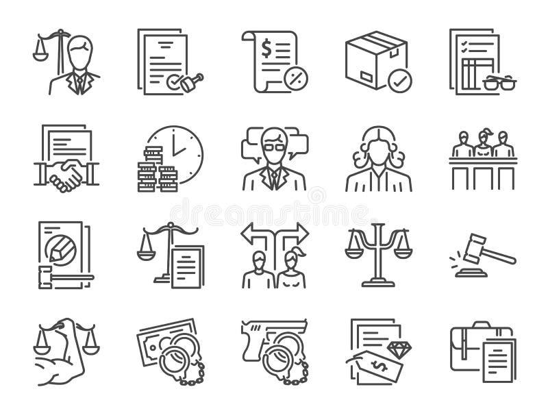 Ensemble d'icône de services juridiques Icônes incluses comme loi, avocat, juge, cour, recommandation et plus illustration de vecteur