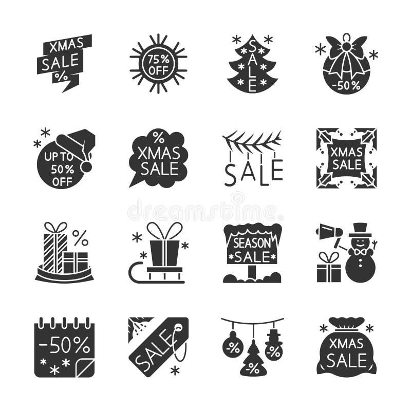 Ensemble d'icône de silhouette de noir de vente de saison de Noël illustration de vecteur