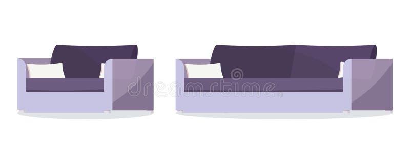 Ensemble d'icône de sofa mou et de fauteuil de couleur pourpre foncée avec des coussins illustration stock