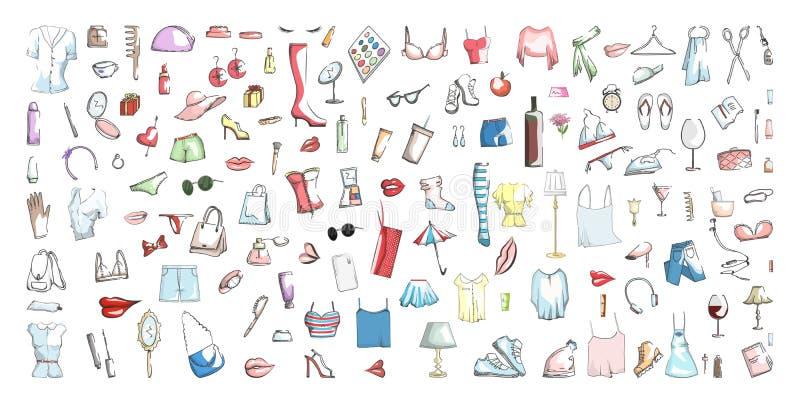 Ensemble d'icône de substance de femme illustration libre de droits