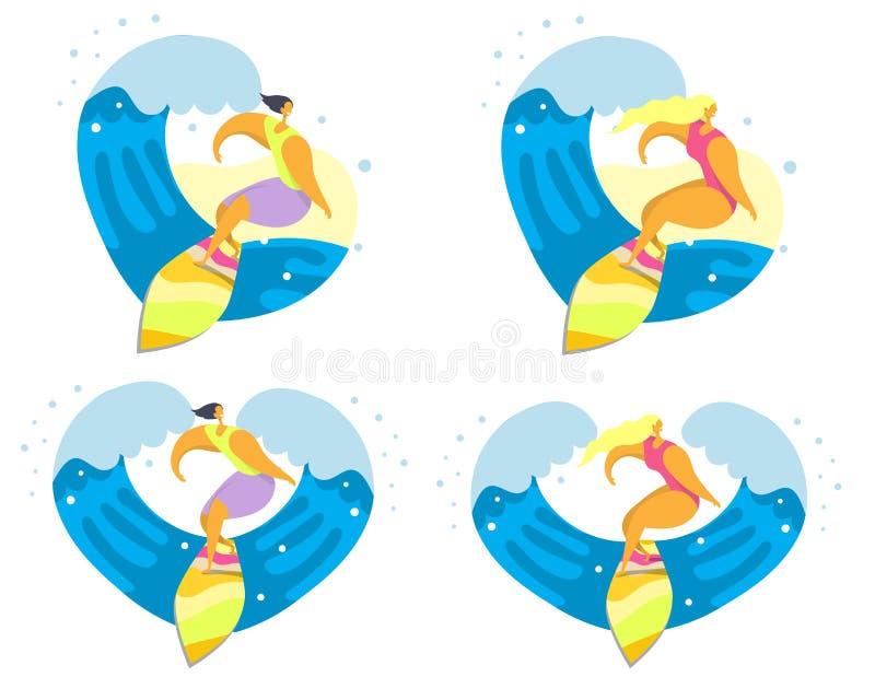 Ensemble d'icône de surfer, illustration d'isolement plate de vecteur illustration libre de droits