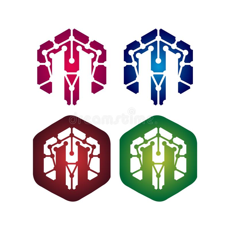 Ensemble d'icône de symbole de l'hexagone M Letter Network Technology illustration de vecteur