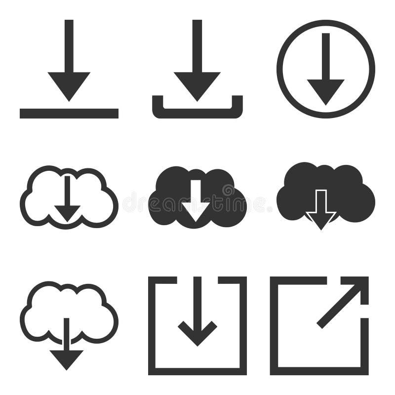 Ensemble d'icône de téléchargement Téléchargement, signe de charge, symbole Illustration de vecteur Conception plate illustration de vecteur