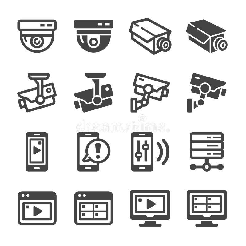 Ensemble d'icône de télévision en circuit fermé illustration stock