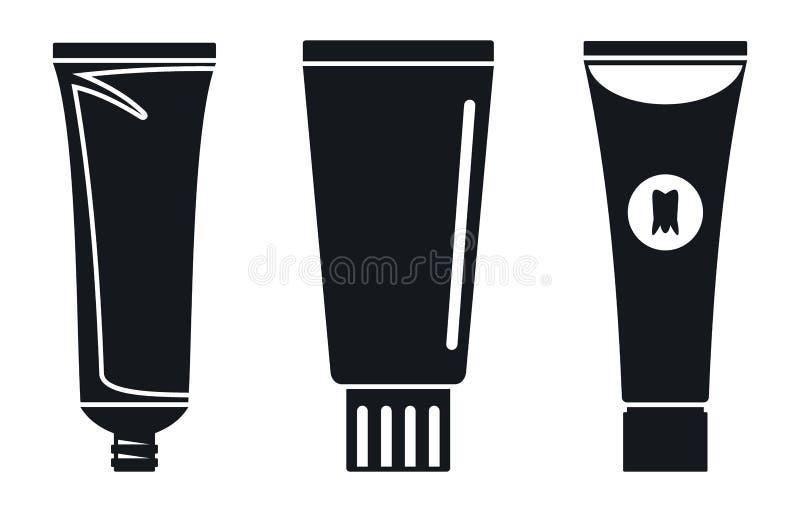 Ensemble d'icône de tube de pâte dentifrice, style simple illustration stock