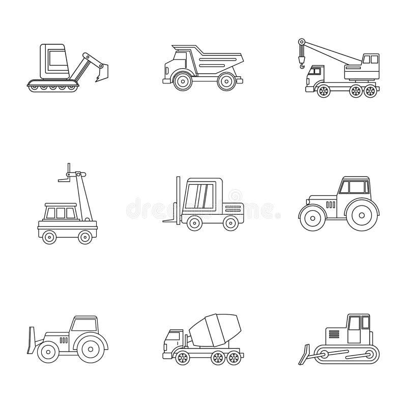 Ensemble d'icône de véhicule de construction, style d'ensemble illustration libre de droits
